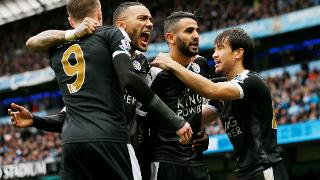 Riyad Mahrez celebrates at Manchester City