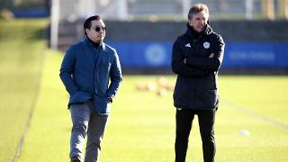 Vice chairman Aiyawatt Srivaddhanaprabha watches training with Claude Puel