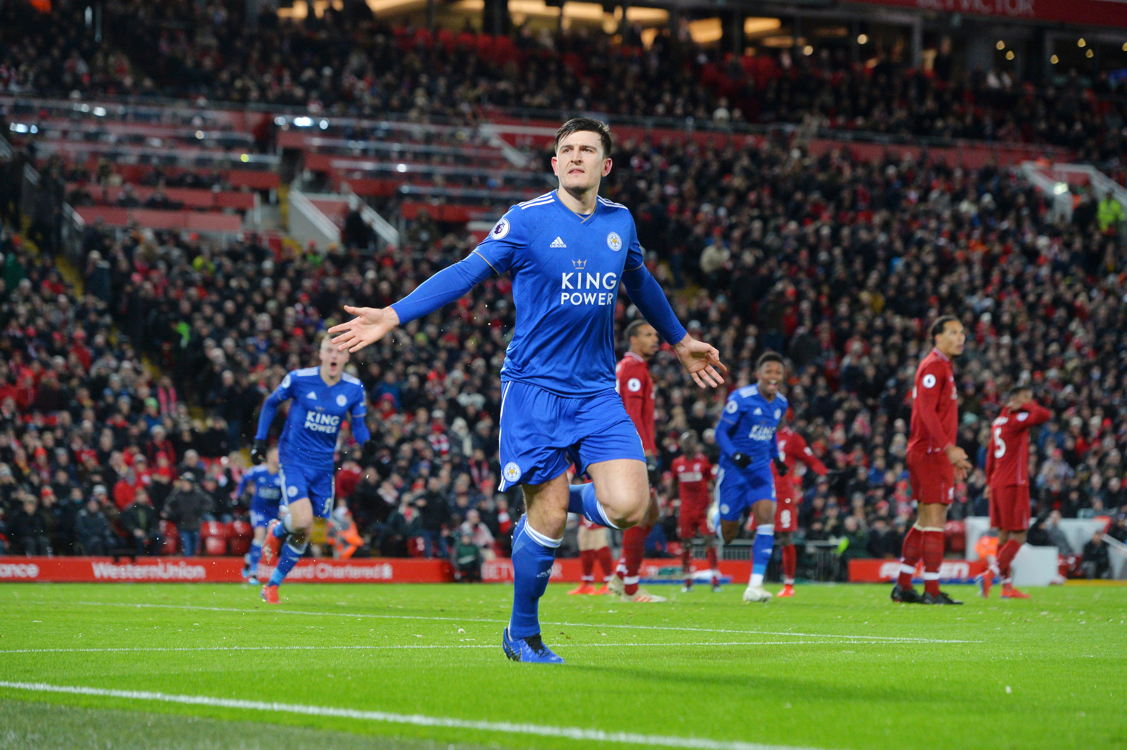 maguire strike earns point at leaders liverpool maguire strike earns point at leaders