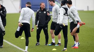 Brendan Rodgers talks to Christian Fuchs