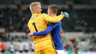 Kasper Schmeichel and Jamie Vardy