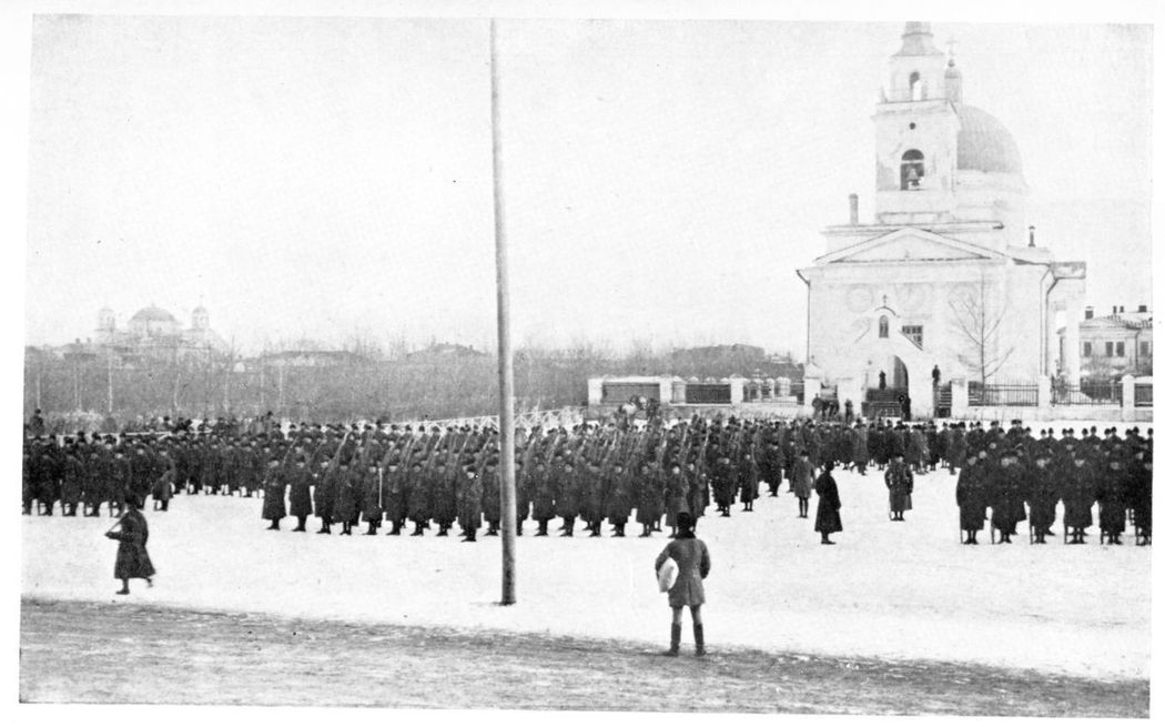 British soldiers on parade at Omsk