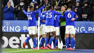 Leicester City celebrate vs. Aston Villa