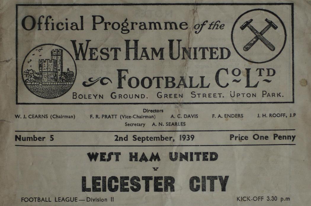 West Ham vs. Leicester City programme