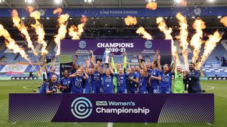 LCFC Women lift the FA Women's Championship trophy