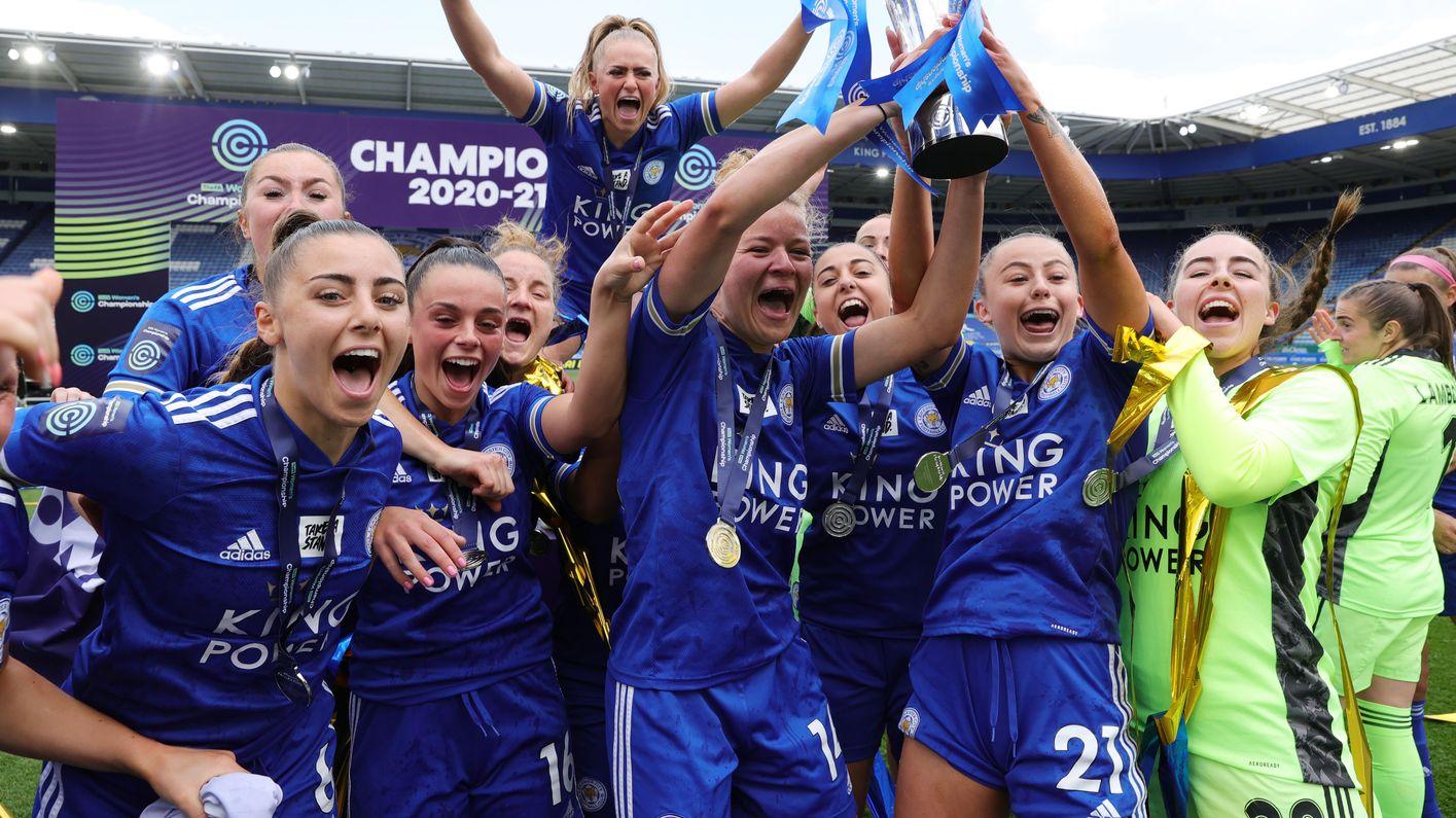 LCFC Women lift the FA Women's Championship trophy