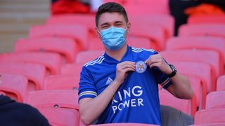 Leicester City fan at Wembley Stadium