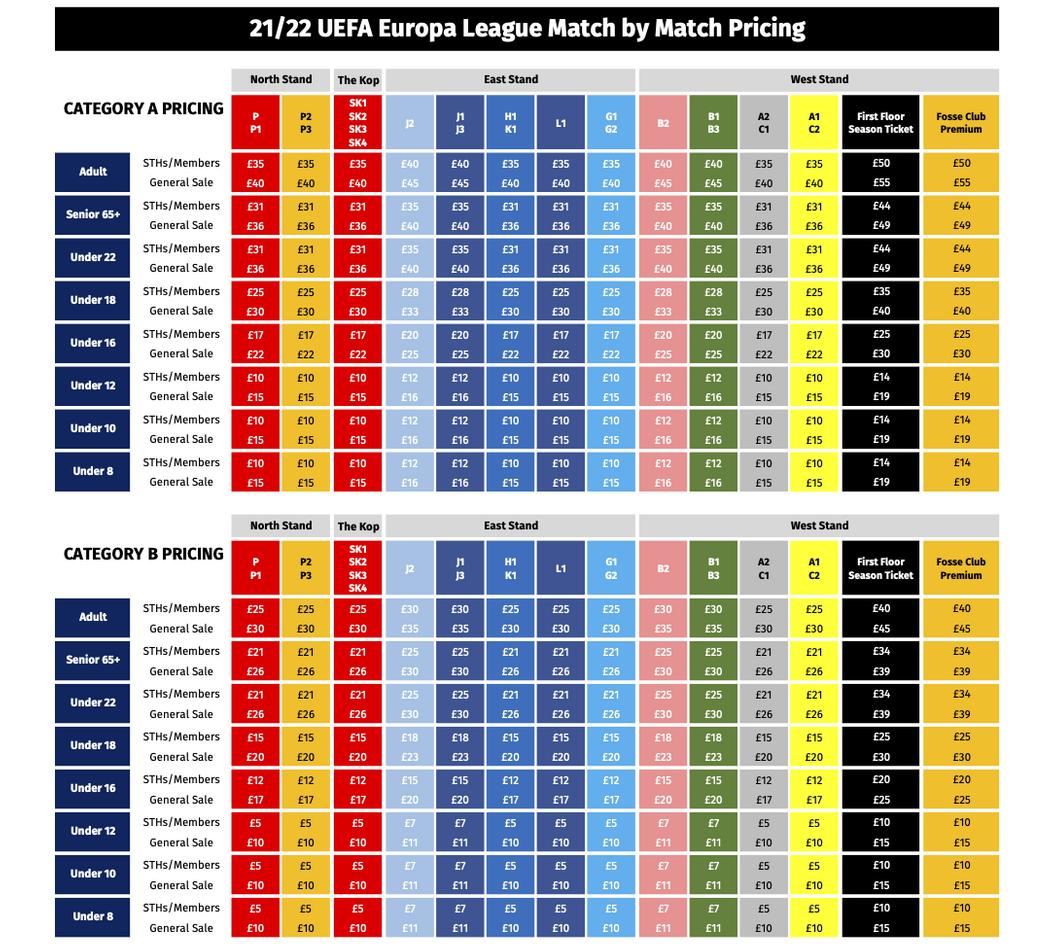 2021/22 UEL Match Ticket Prices